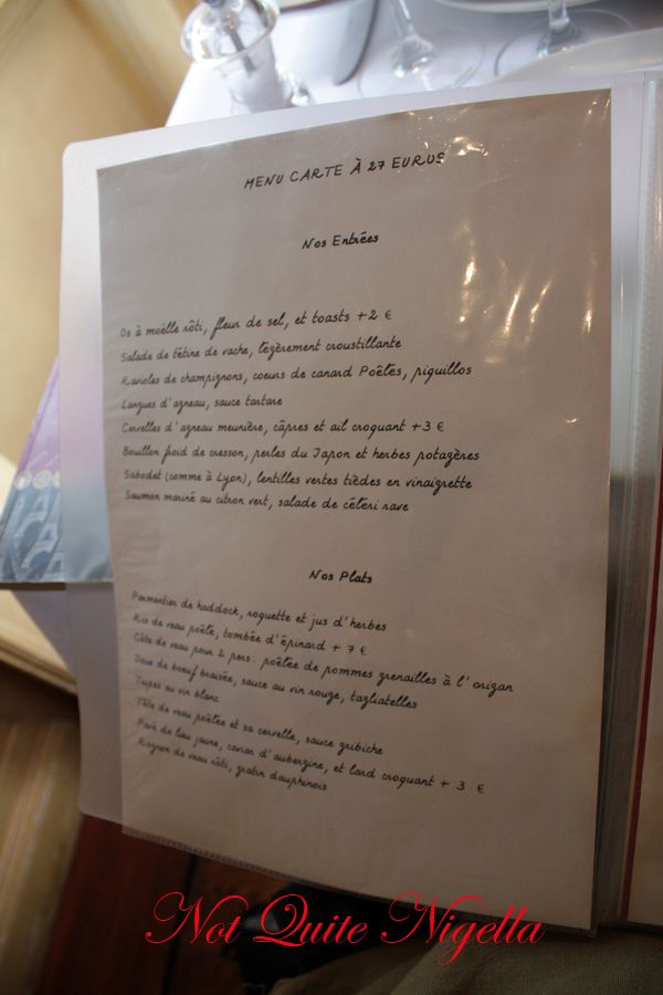 Ribouldingue Paris menu