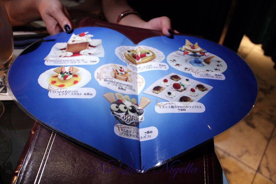 Alice in Wonderland Fantasy dining Ginza dessert menu