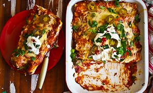 Fiesta Fun! Baked Roast Chicken & Pork Enchiladas