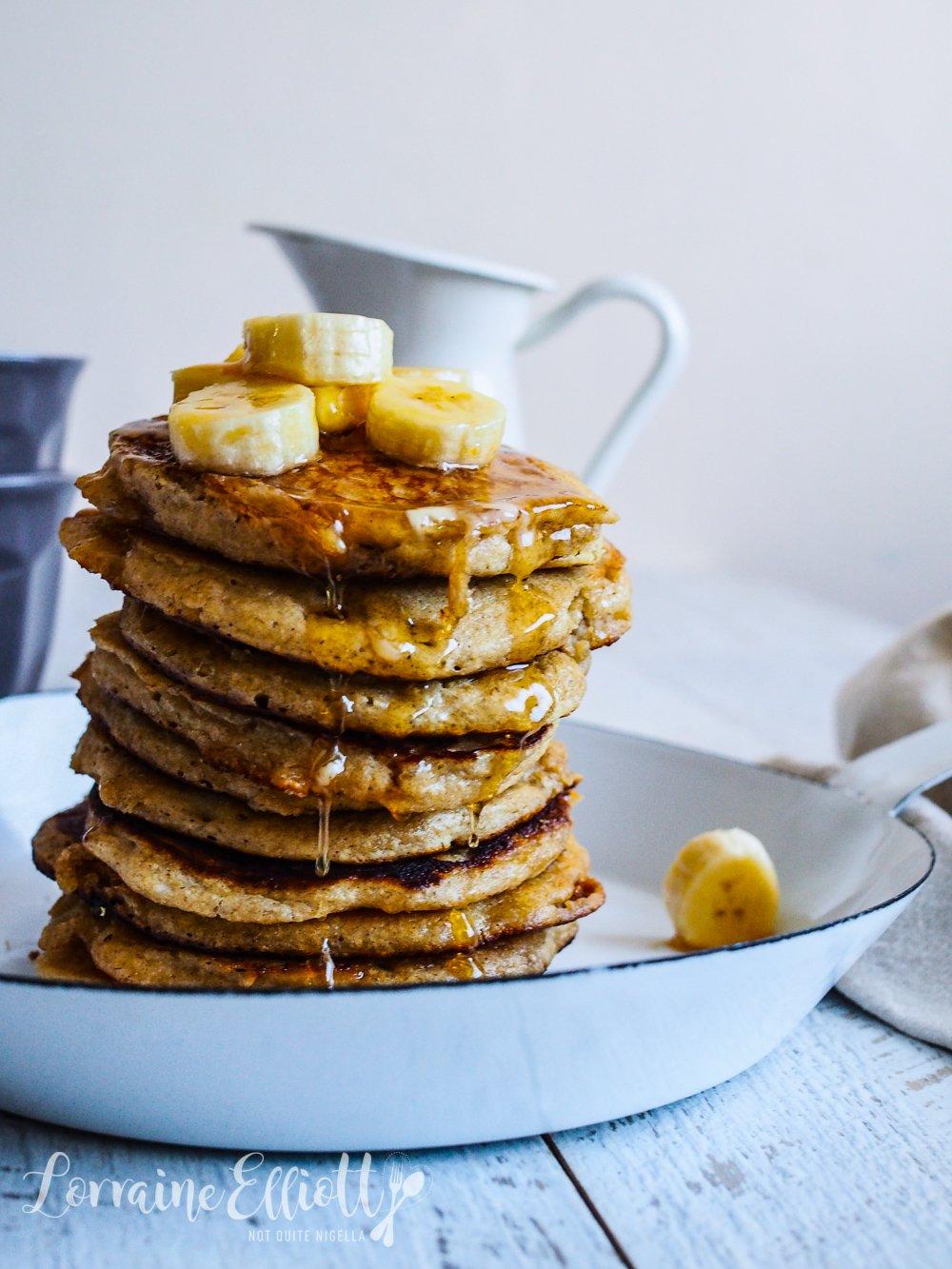Ricotta Banana Oatmeal Pancakes