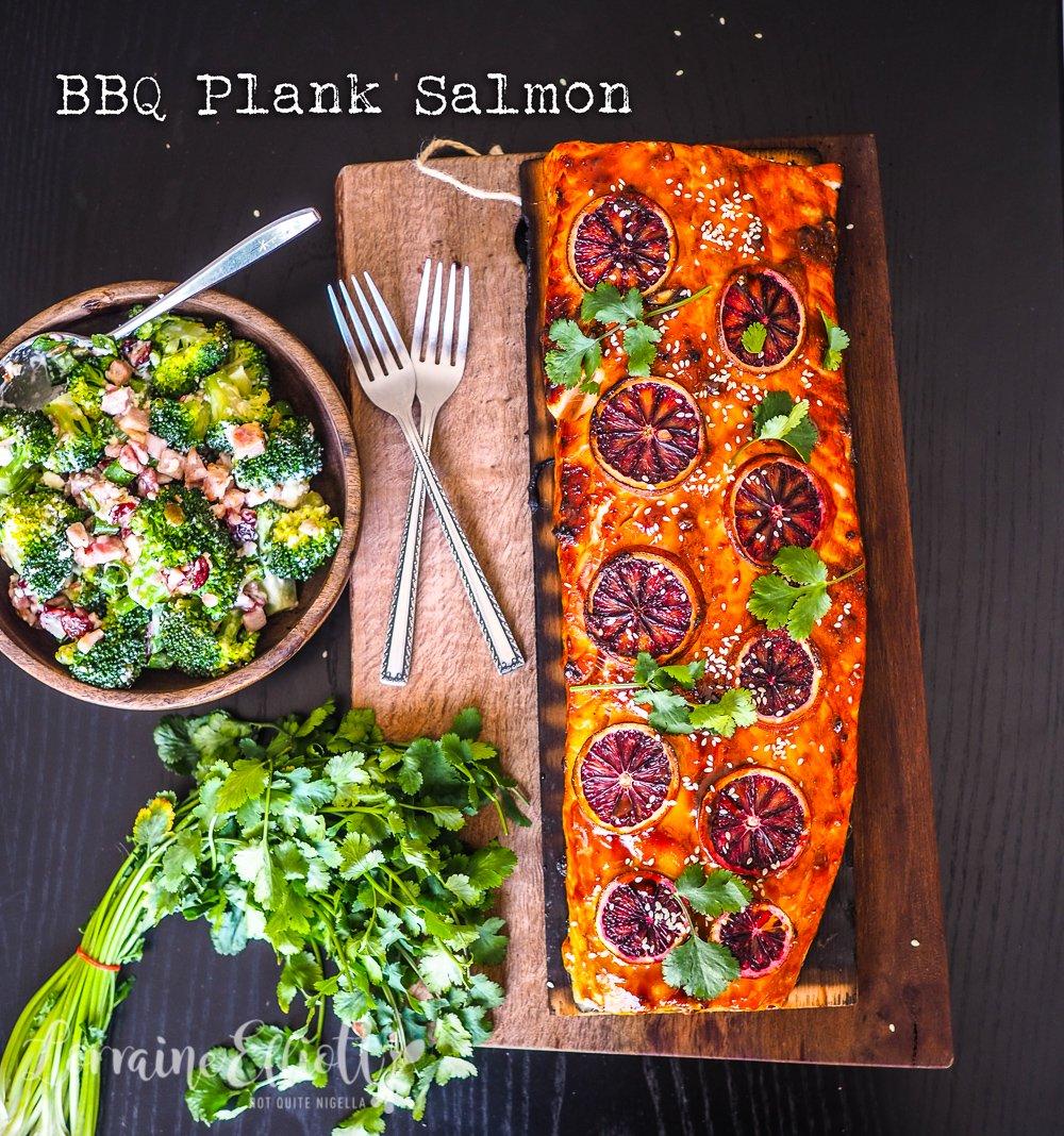 Barbecue Plank Salmon Broccoli Bacon Salad