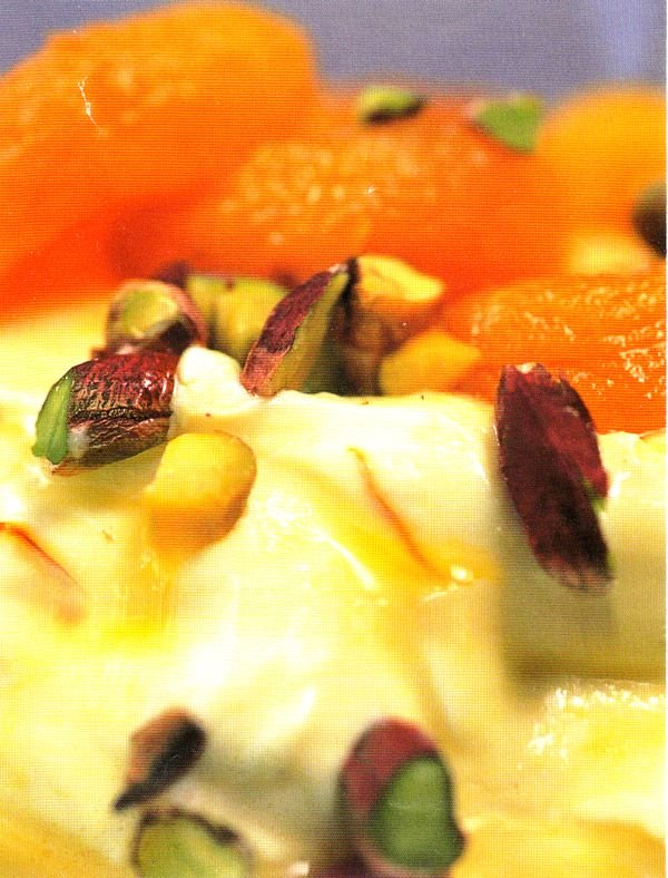 Shrikhand with poached cardamom apricots