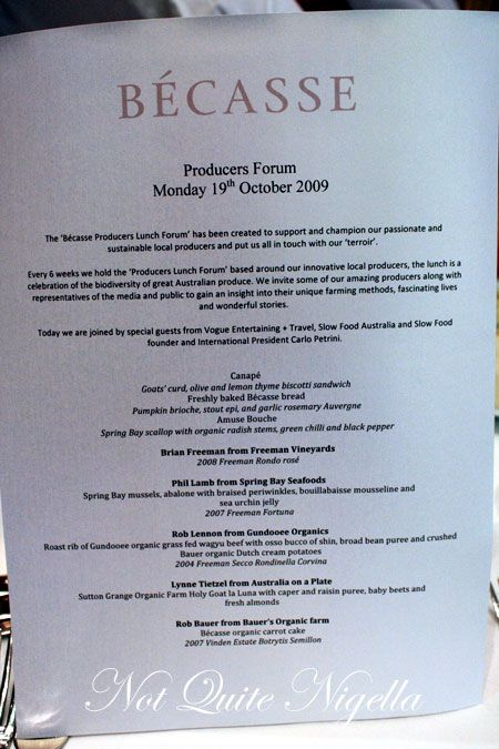 becasse producers lunch menu