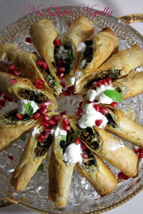 Beef & Olive Briouats with Pomegranate & Minted Yoghurt