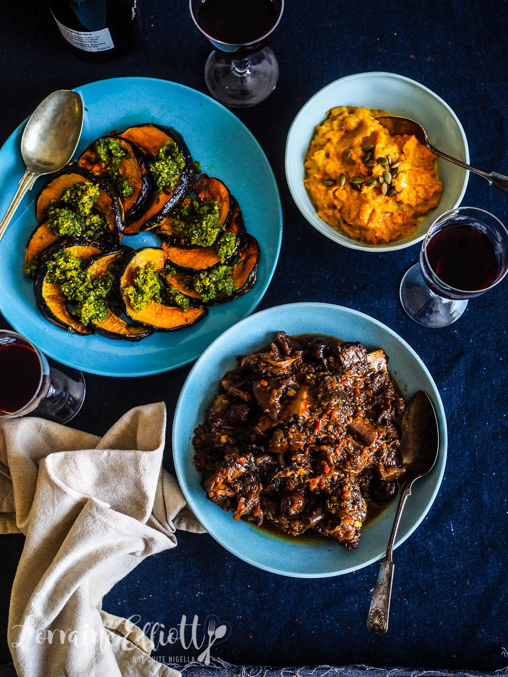 Instant Pot Pressure cooker Beef Short Ribs With Porcini & Chestnuts and Pumpkin With Basil Gremolata