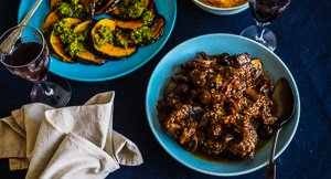 Instant Pot Beef Short Ribs With Porcini & Chestnuts and Pumpkin With Basil Gremolata