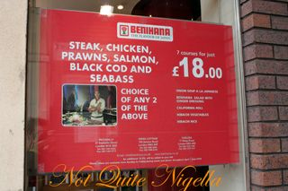 Benihana Kings Road London menu