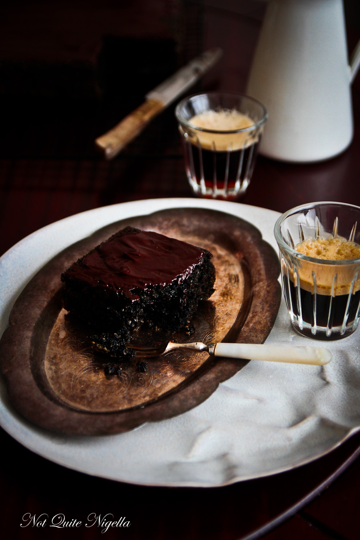Black Sesame and Chocolate Cake