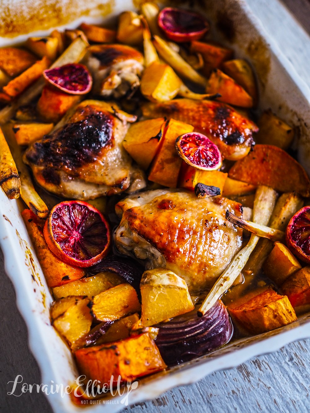 Sticky Honey Roasted Chicken With Blood Oranges