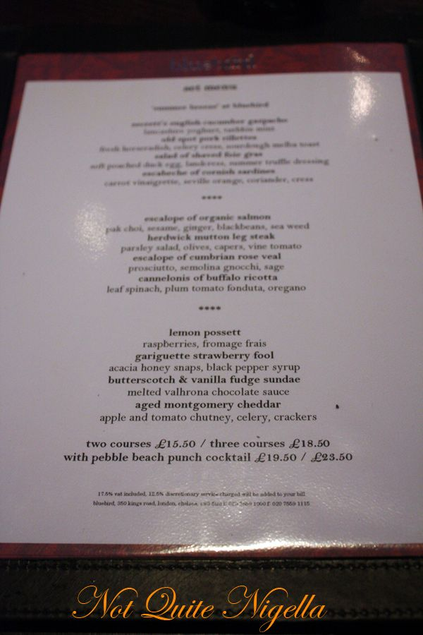 Bluebird Chelsea London menu