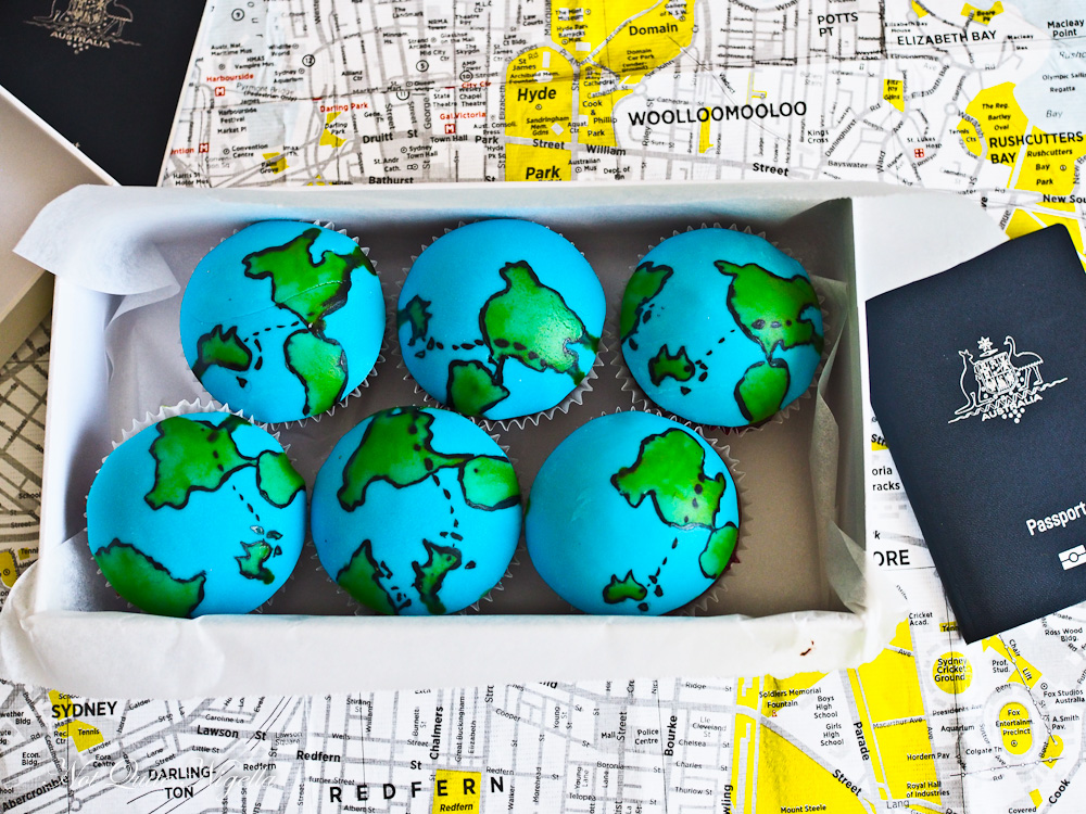 World Map Farewell Cupcakes