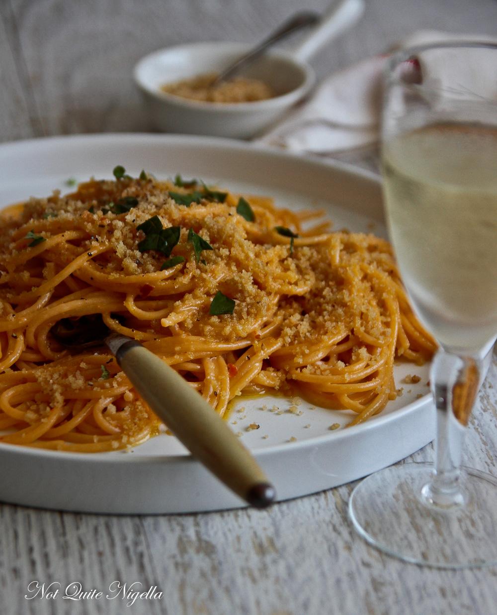 Anchovy Breadcrumb Spaghetti