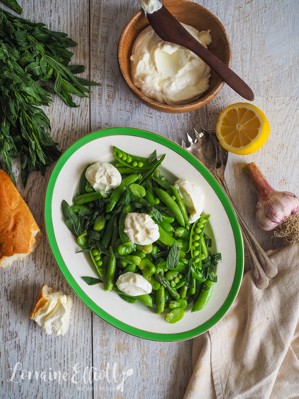 Spring Broad Bean, Asparagus & Sugar Snap Pea Salad