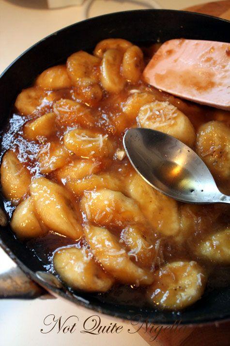 Brown Sugar Pavlova with Bananas Flambé & Vanilla Rum Syrup