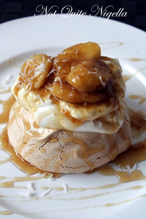 Brown Sugar Pavlova with Bananas Flambé & Vanilla Rum Syrup