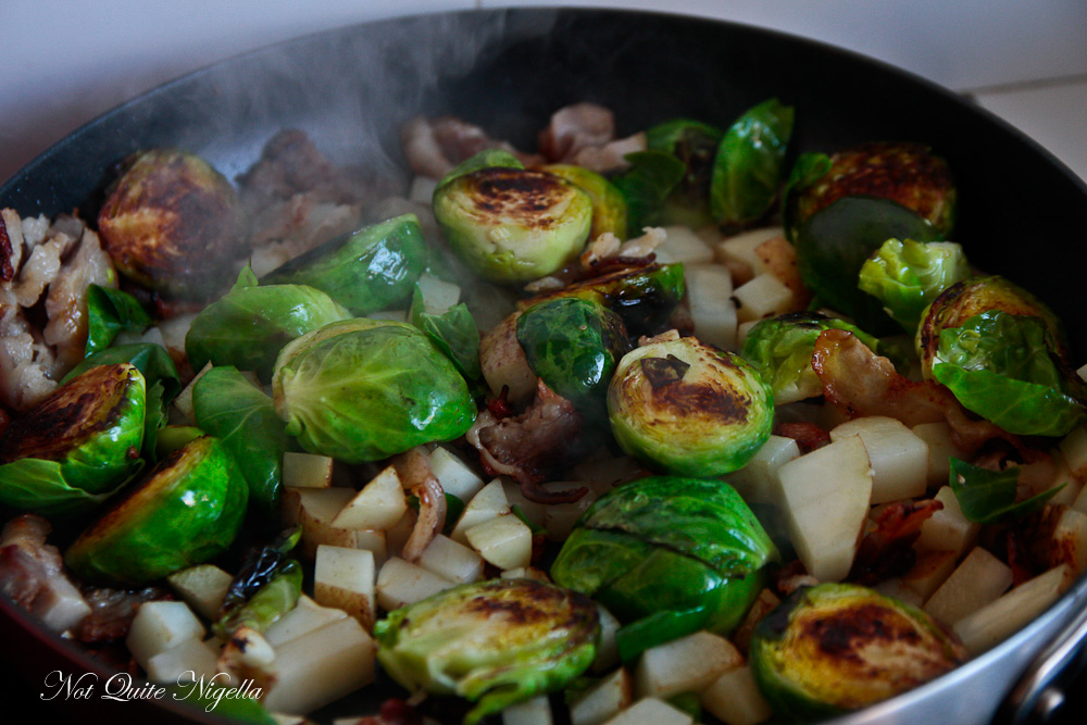 Brussels sprouts bacon cider