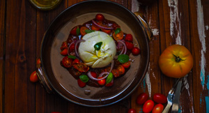 From My Head To-Matoes! Burrata With Trio Of Tomatoes