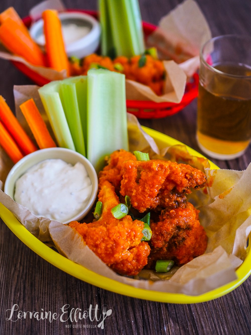 "Cauliflower ""Hot Wings"" With Blue Cheese Sauce"