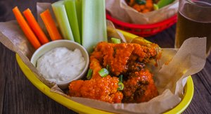 """Cauliflower """"Hot Wings"""" With Blue Cheese Sauce"""