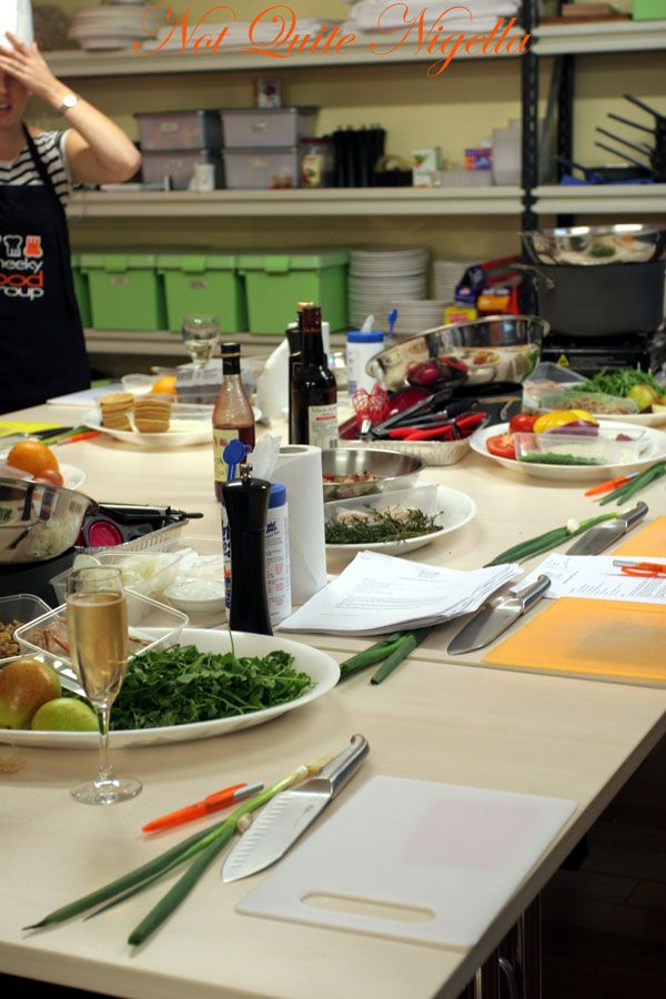 Cheeky Food group Cooking Class setup