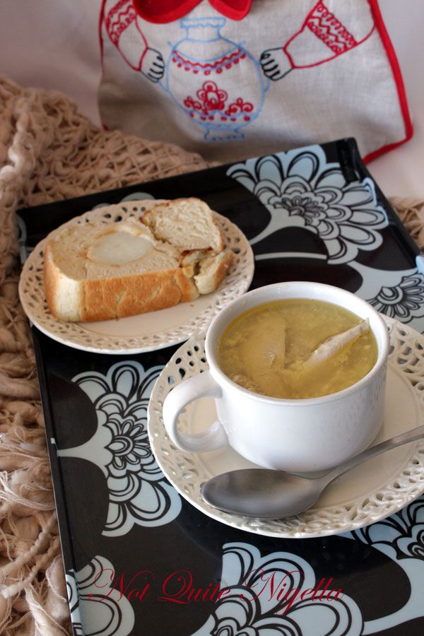 Chicken Soup with potato stuffed potato bread for the occassional Shut-In
