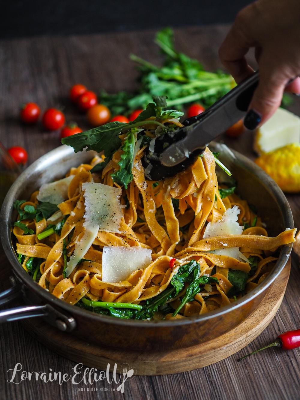 Fettucine With Chilli, Rocket & Lemon