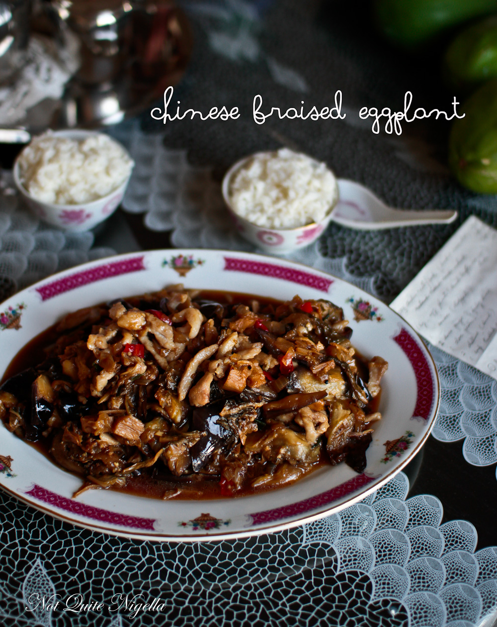 Chinese braised eggplant with chicken not quite nigella chinese eggplant recipe braised forumfinder Images