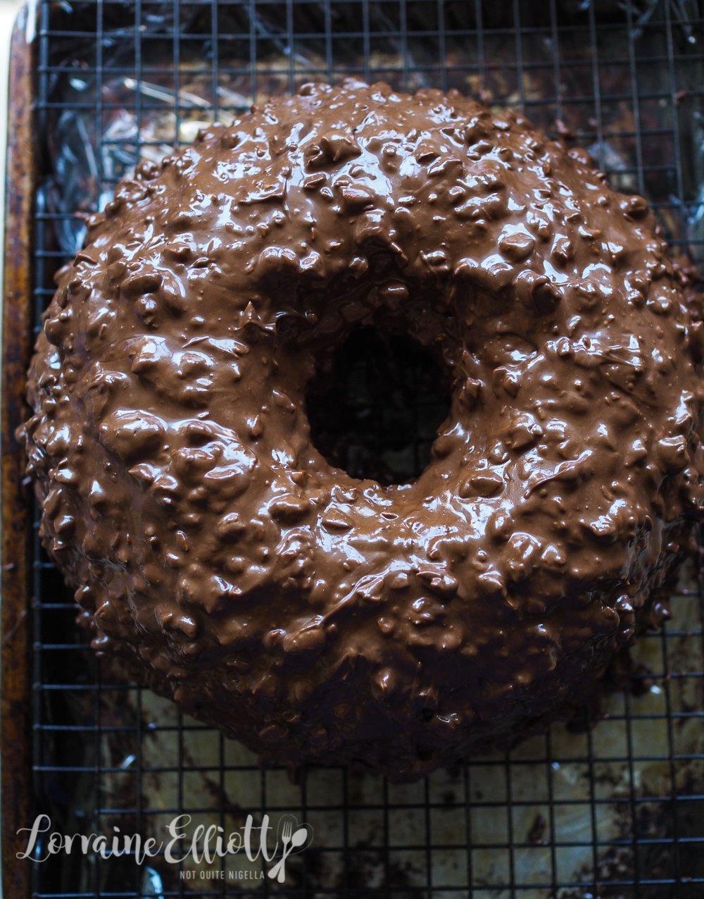 Chocolate Almond Coated Chocolate Cheesecake Bundt