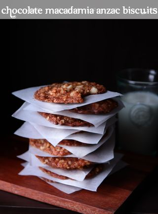 chocolate macadamia anzac biscuits