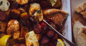 DELICIOUS Chorizo, Halloumi & Potato Tray Bake!