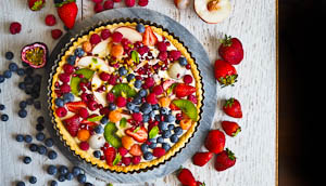 Colourful Coconut Fruit Flan
