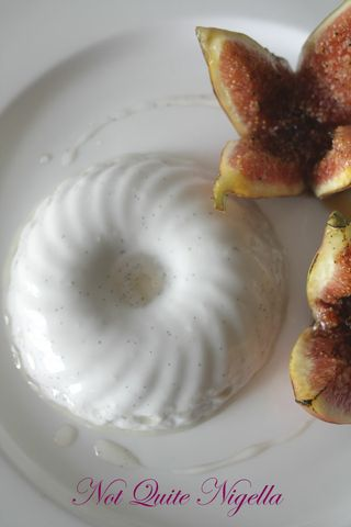 Coconut & Vanilla Pannacotta with Grilled Fresh Fig Flowers