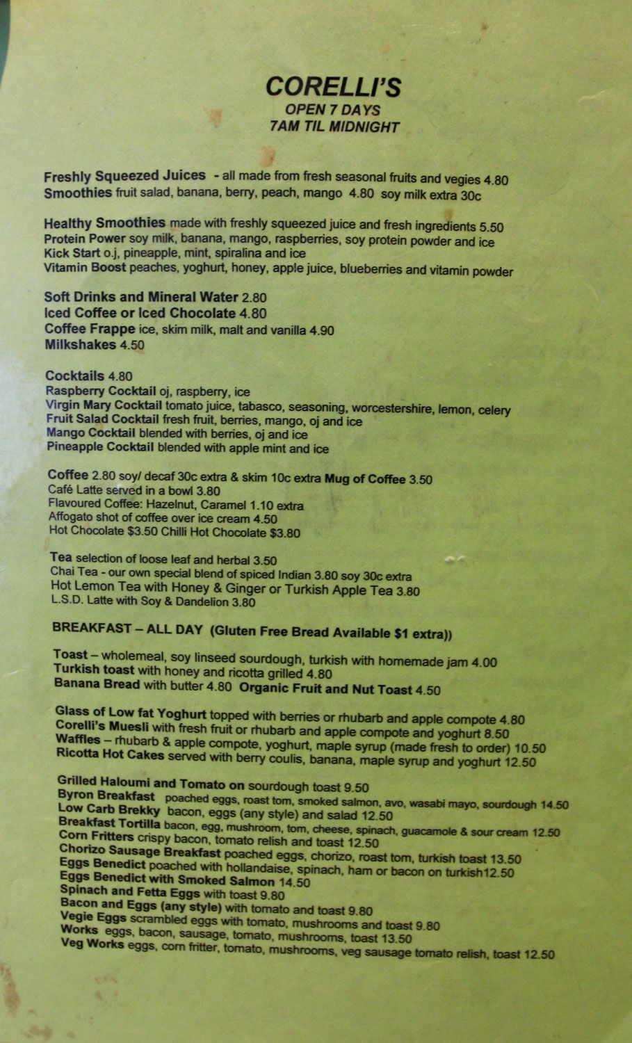 Corelli's Gallery Cafe breakfast lunch drink menu