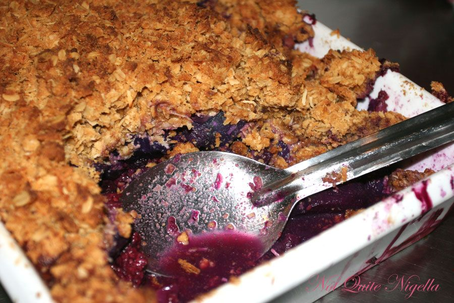 Corelli's Gallery Cafe Apple, rhubarb and berry crumble