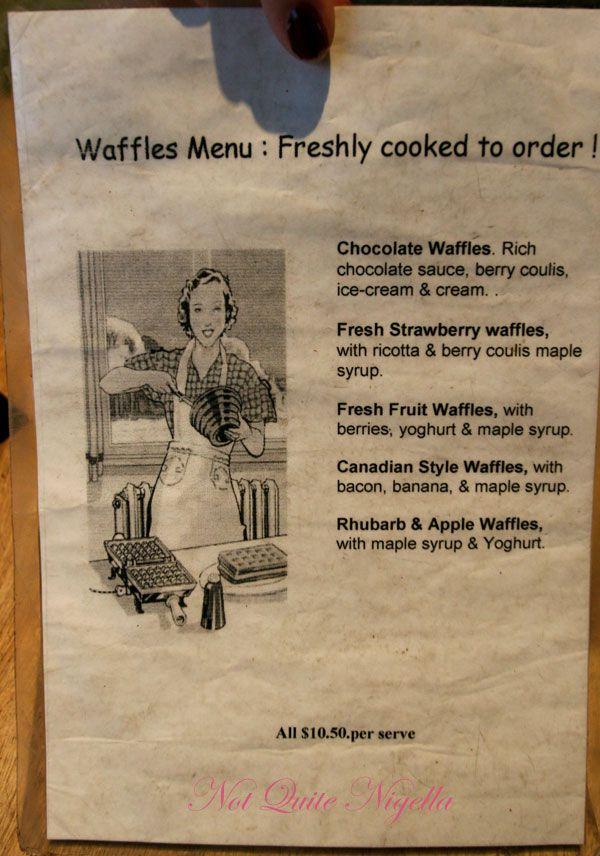Corelli's Gallery Cafe Waffle menu