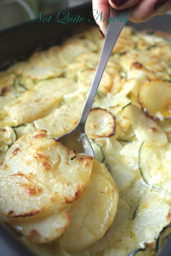 Creamy Potato and Zucchini gratin- Rated R