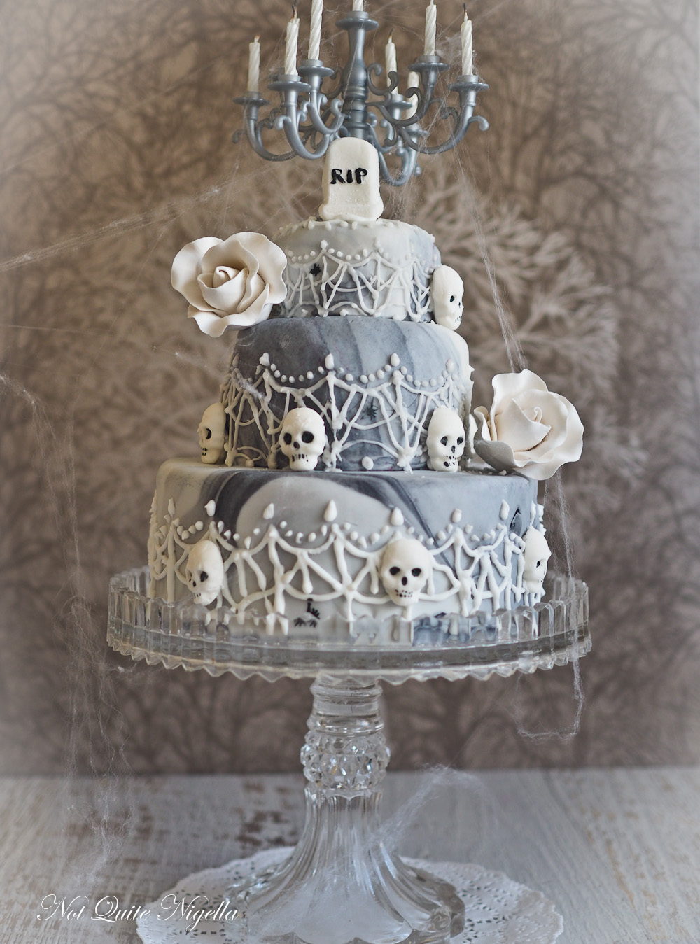 Creepy Elegant Halloween Wedding Cake