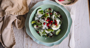 Cool It Baby! Cucumber & Pomegranate 5 Minute Salad