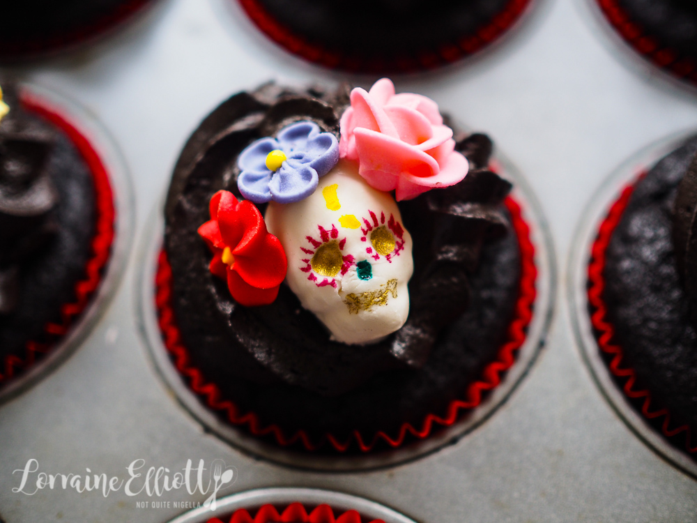 Day Of The Dead Black Velvet Cupcakes
