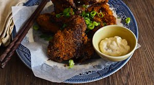 Twice Cooked Drunken Chicken Wings With Preserved Lemon Mayo