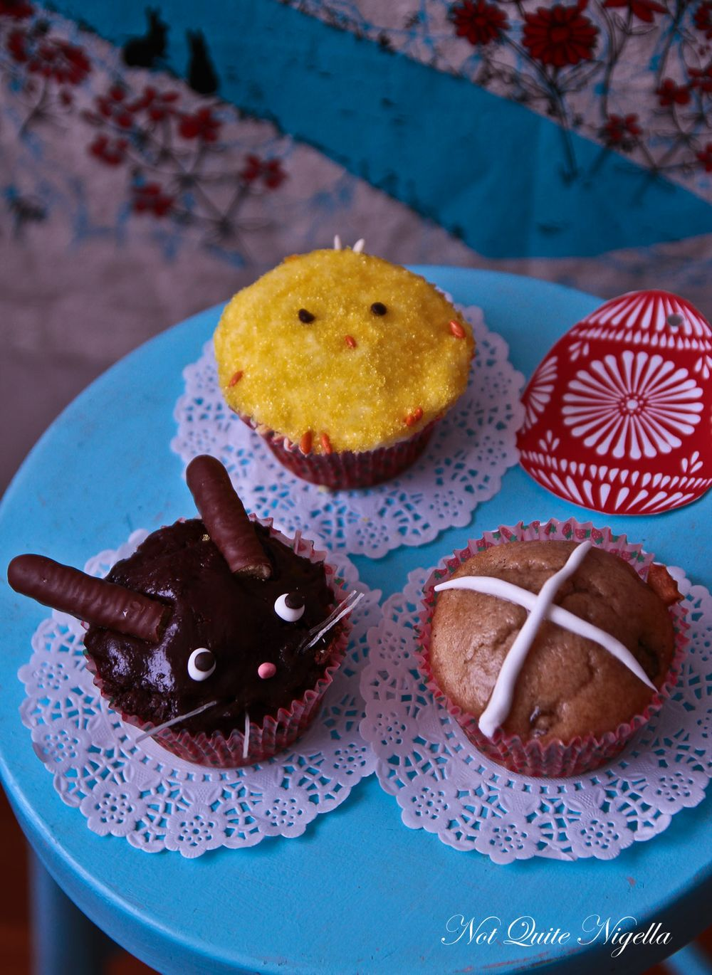 Easter Bunny, Chick & Hot Cross Bun Cupcakes