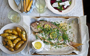 A Mother's Day Feast: Garlic & Herb Baked Snapper With Buttered Kipflers & Beetroot Salad