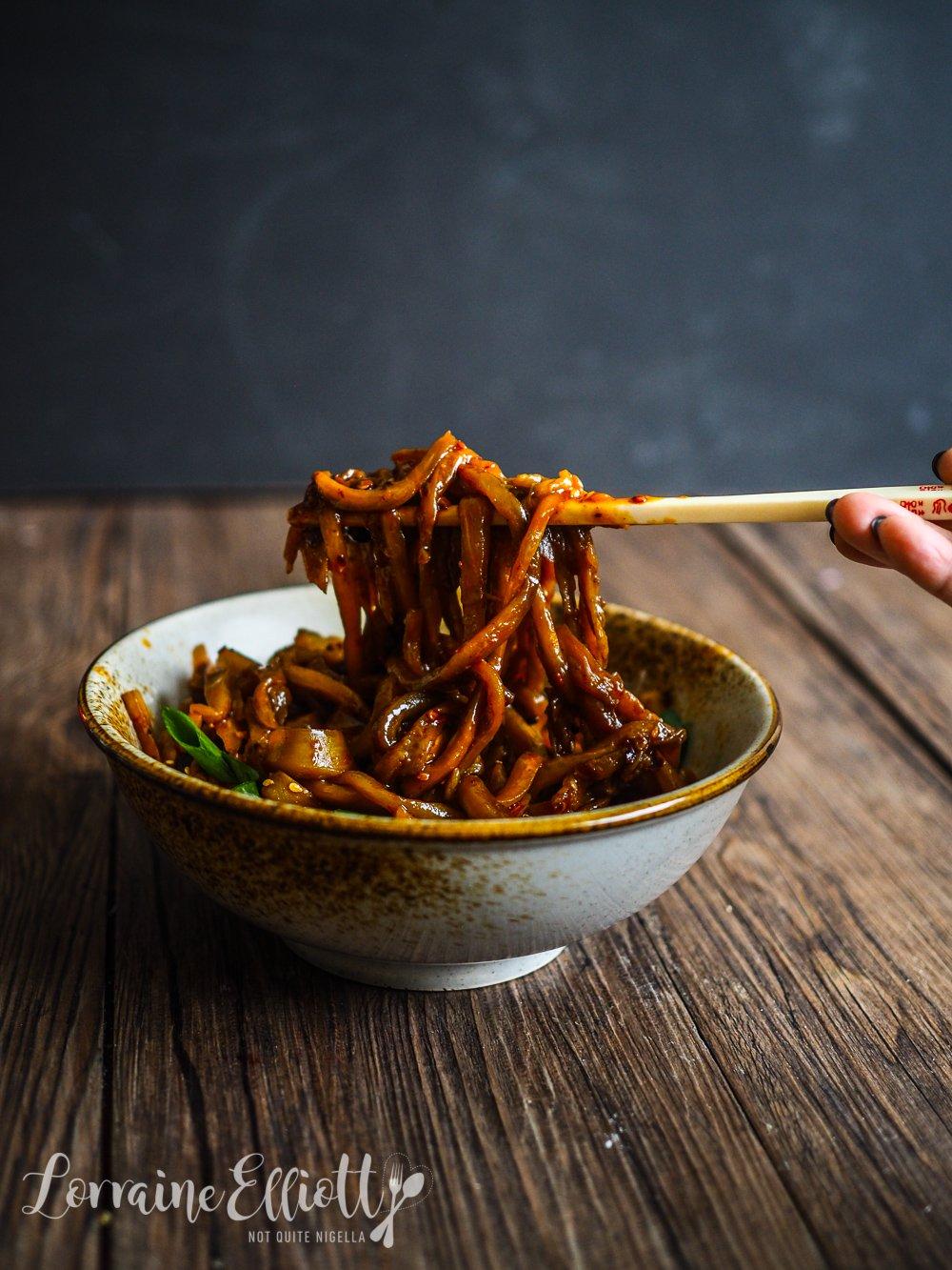 Spicy Eggplant Aubergine Noodles Pasta
