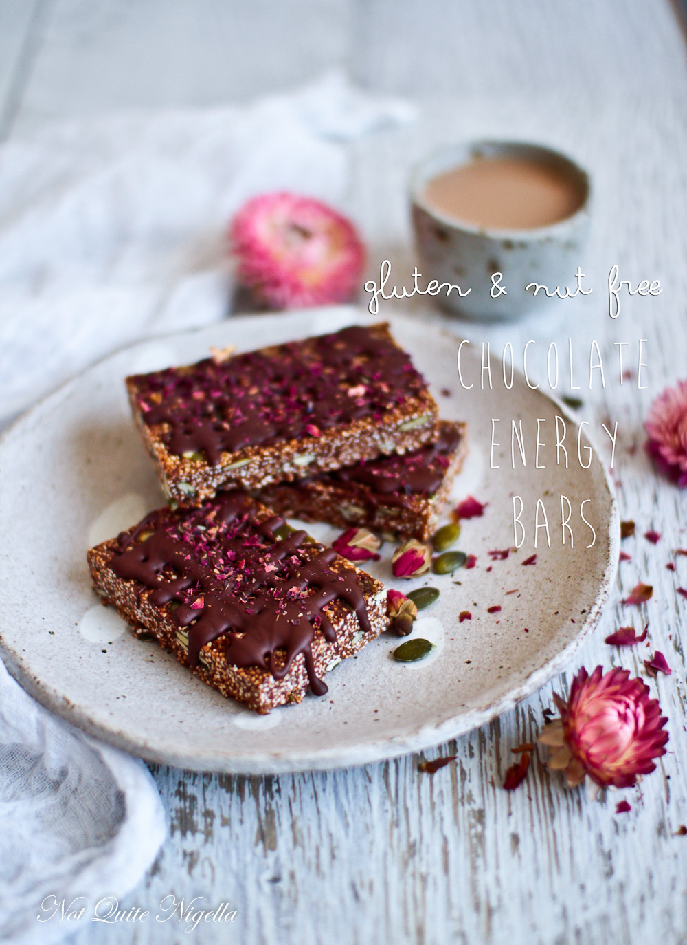 Healthy Dark Chocolate Energy Bars Gluten & Nut Free