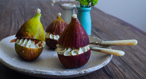 Valentine's Day Figs Stuffed With Gorgonzola, Honey & Crispy Guanciale