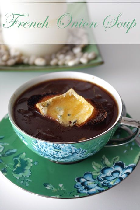 French Onion Soup with Blue Brie croutons