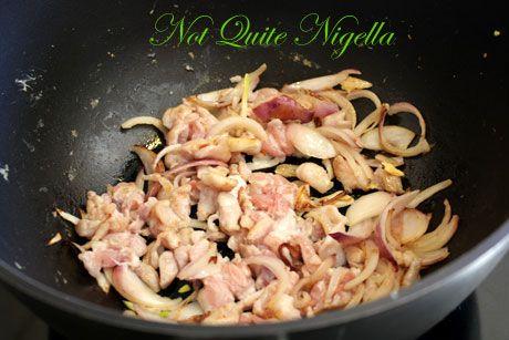 frying chicken onion