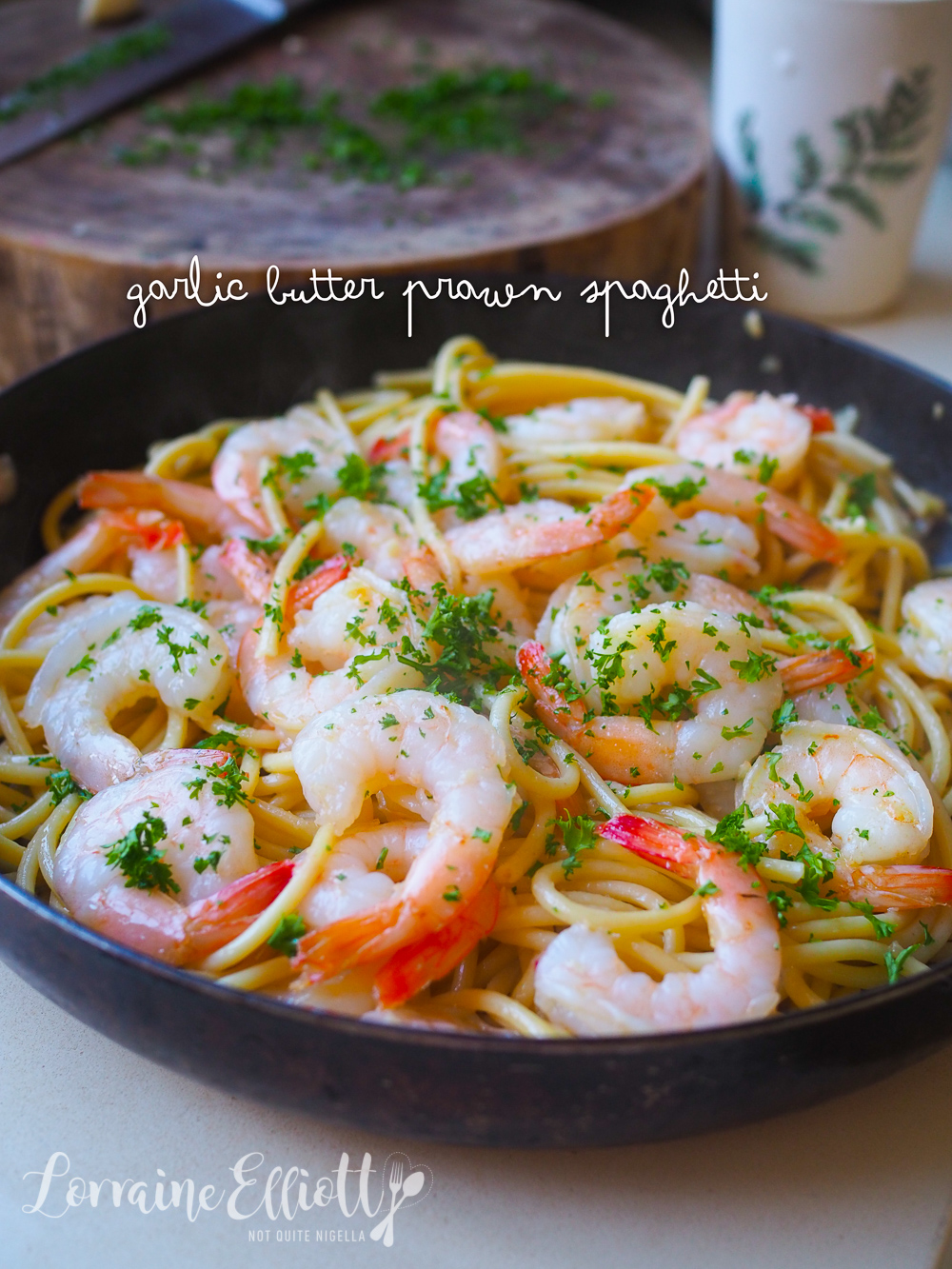 Garlic Butter Prawn Spaghetti With Lemon
