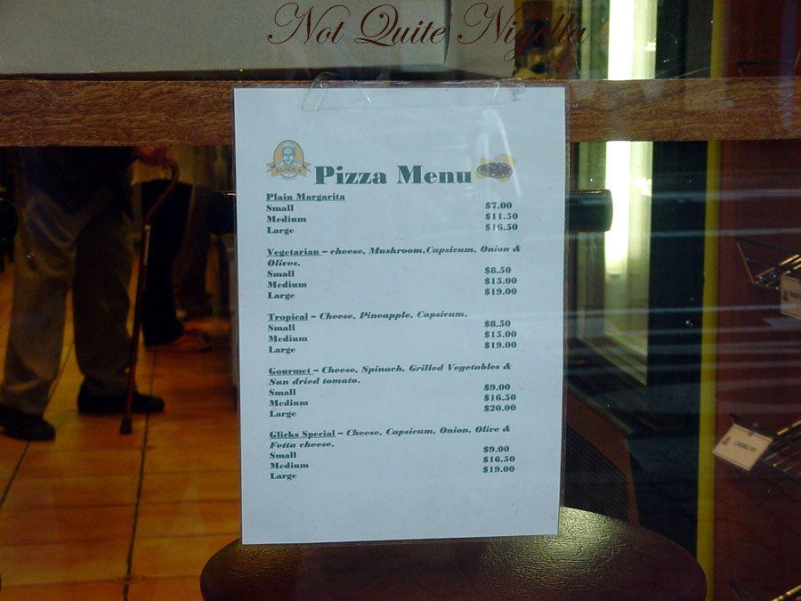 Glick\'s at Bondi Pizza Menu