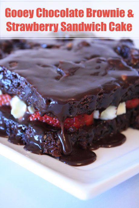Gooey Chocolate Brownie and Strawberry Sandwich Cake